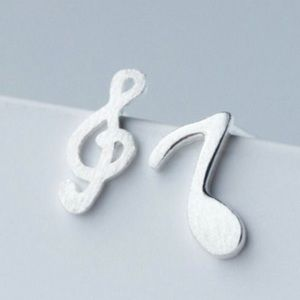 🆕Mini Music Note And Clef 925 Silver Post Earring